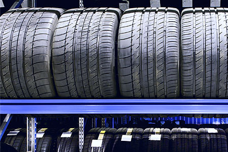 Car tires on racks
