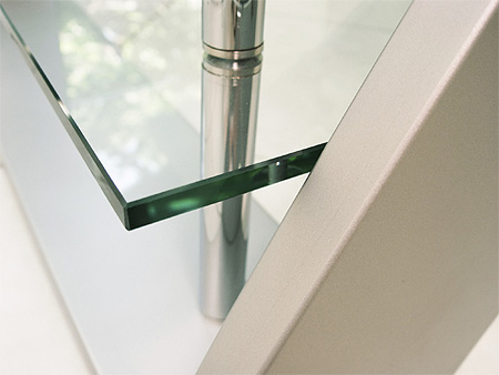 Closeup of polished furniture glass