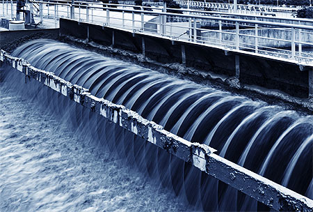 Greywater flowing at wastewater treatment plant