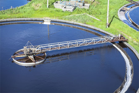 Primary sedimentation tank at wastewater treatment plant