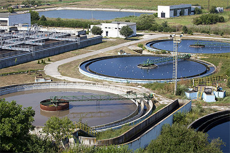 Primary sedimentation tanks at wastewater treatment plant