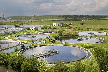 Primary sedimentation tanks at wastewater treatment plant
